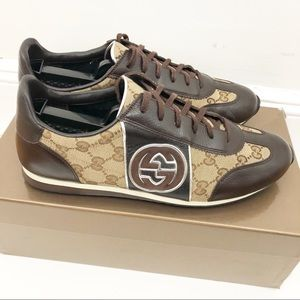 Mens Gucci Classic Sneakers GG Pattern Size 9